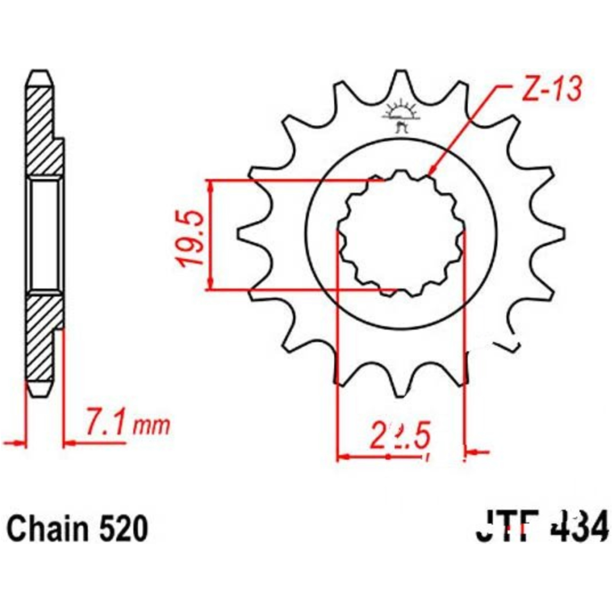 Front Sprocket 15tooth Pitch 520 Jtf43415 The Electric Plan Of Gn400