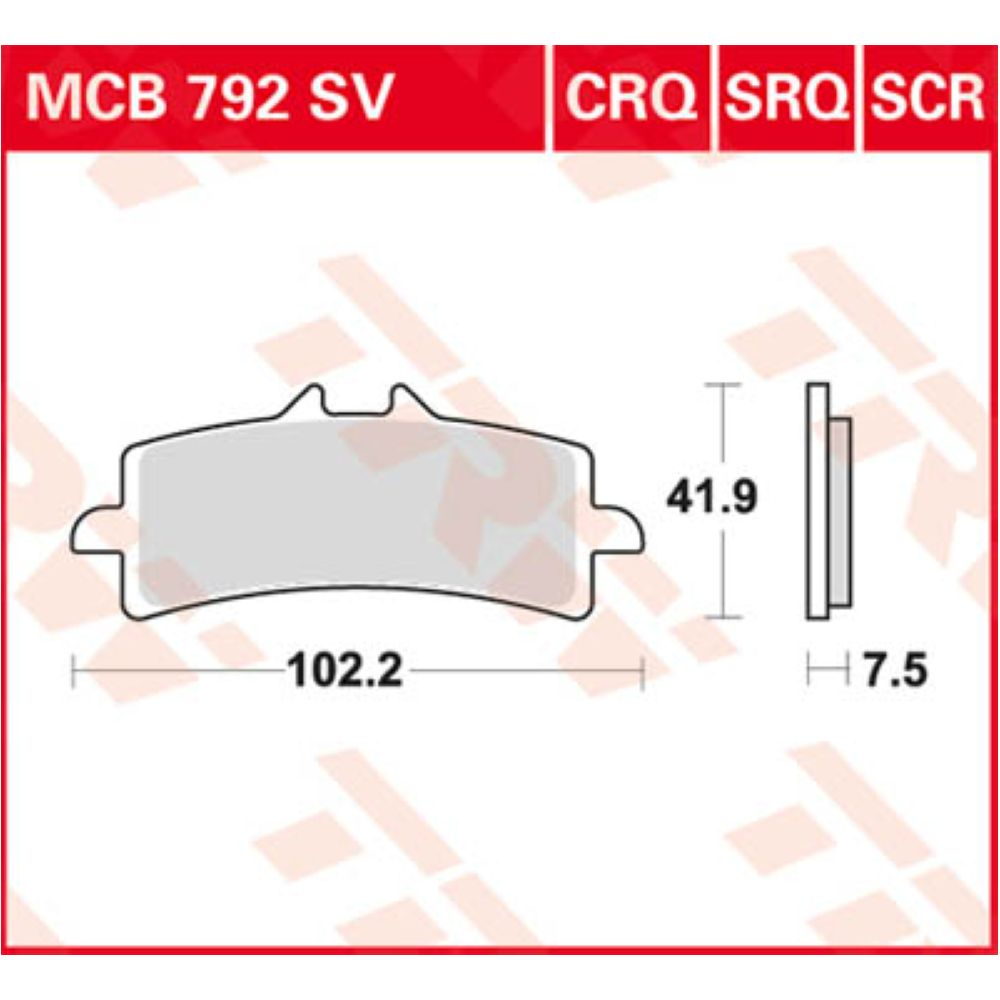 TRW Bremsklotz Bremsbelag Sinter SRQ MCB792SRQ Motorrad Bremsbeläge